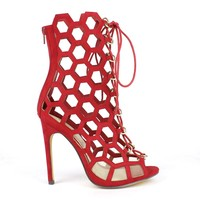 Fahrenheit Lenka-06 Laser-cut High Heel Bootie in Red @ ippolitan.com