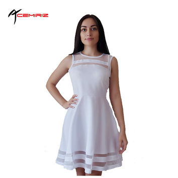 ACEMIRIZ  Summer Dress Sleeveless Casual Vestidos Solid Fit Flare Sleeveless  White Chiffon Party Dresses AWD0011