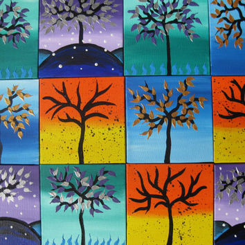 4 seasons yellow orange green blue rainbow colorful tree of life painting colourful art 12 paintings on canvas small tiny unique unusual art