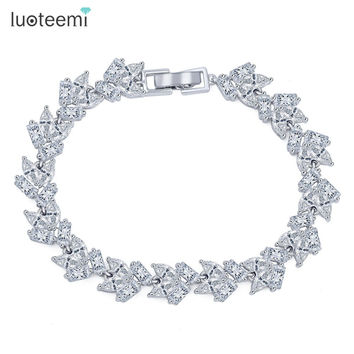 LUOTEEMI Brand New Vintage Bracelet Geometric Zircon Charm Simple Bangle White Gold-Color Jewlery Women Chain Christmas Gifts