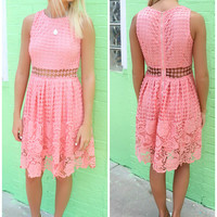 La Jolla Crochet Sheer Waist Sleeveless A-Line Peach Dress