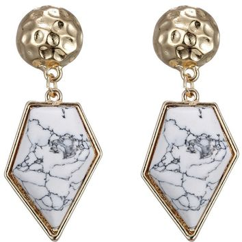 Pair of Chic Faux Rammel Polygon Earrings For Women   White