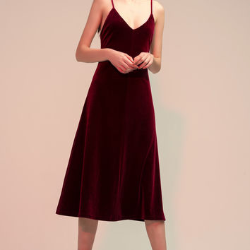 Velvet Slip-on Midi Dress
