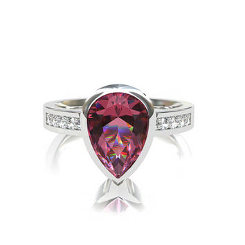 Pear cut Pink topaz ring, Topaz engagement ring, unique, bezel, diamond ring, white gold, yellow gold, rose gold, solitaire, pink, unique