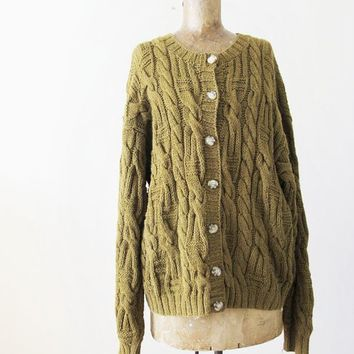 Vintage Cardigan - Cable Knit Baggy Cardigan - Oversized Slouchy Cardigan Sweater - Tobacco Brown Olive Grunge Cardigan - Chunky Cardigan L