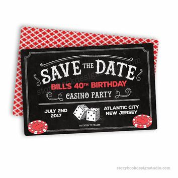 Casino Birthday Party Save The Date Cards
