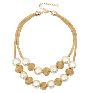 Pearl Ball Women Chokers Statement Necklace