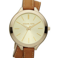 Michael Kors Double-Wrap Leather Watch, Golden/Horn - Michael Kors