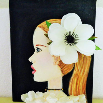 Girl Portrait- Mixed Media Artwork- White Flowers- Black Canvas- 8X10 inches