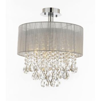 "Silver and Crystal 15""W Ceiling Light Chandelier Pendant Flush Mount 