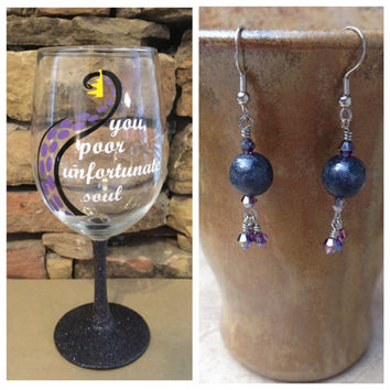 Gift Bundle Ursula You Poor Unfortunate sould inspired by Disney's Little Mermaid Glittered glass and earrings set