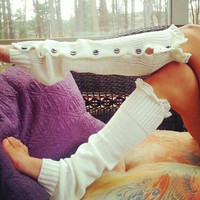 Ivory Leg Warmers, Lace trim Button Up Leg Warmers
