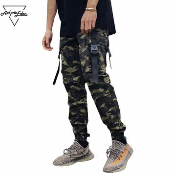 Man Large Pocket Spliced Cargo Pants Feet Trousers Streetwear Men's Wild Casual Pants
