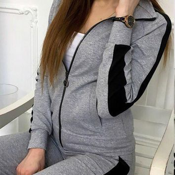 New Grey Striped Zipper Print Pockets 2-in-1 Waist Fashion Long Jumpsuit