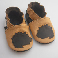 soft sole baby shoes hedgehog on yellow 0 6