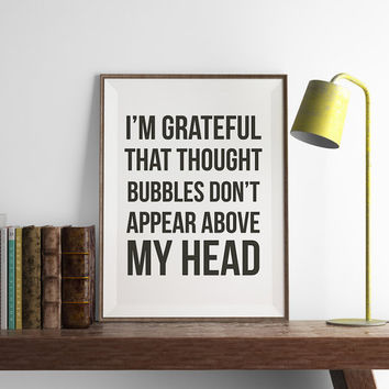 Thought Bubbles Print | Office Wall Art | Art Printable | Printable Wall Art | Home Decor | PDF Download | Funny Art