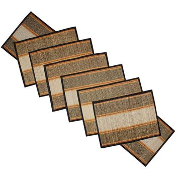 Set Of 6 Hand Woven Placemats and Runner In Grass Benzara Brand