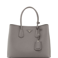 Saffiano Cuir Double Bag, Gray (Marmo) - Prada