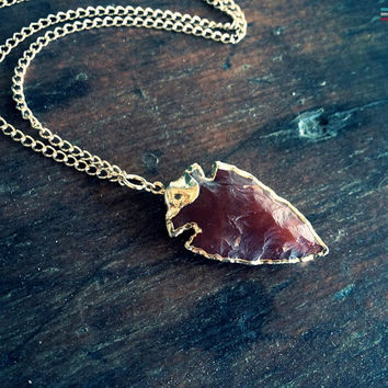 Carnelian Arrowhead Necklace, Arrow Necklace, Burnt Orange, Tribal,Boho Necklace,Sunset, Bohemian Gypsy, EArthy Jewelry,Native American