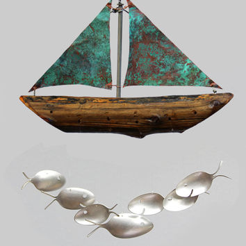 Nautical Verdigris Copper Sailboat and Silver Spoon Fish Wind Chime. Costal christmas gift giving made easy