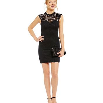 Sequin Hearts Cap Sleeve Lace Sheath Dress | Dillards