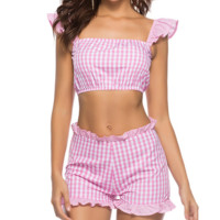 New product suit vest tops ruffled casual sports houndstooth shorts sexy two-piece