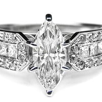 Engagement Ring - Marquise Diamond Vintage Engagement Ring Horse shoe, 0.6 tcw. In 14K White Gold - ES591MQD