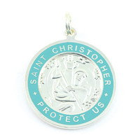 Get Back Supply Co — Large Silver-plated St. Christopher Medal (Silver-Teal)
