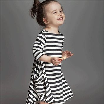 2017 New Autumn Long Sleeve Girls Black Navy Striped Dress Children Baby Clothing Toddler Girl Clothes Kids School Wear Dresses