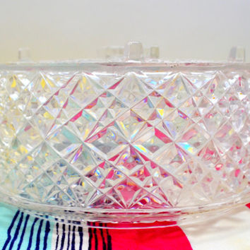 Mid Century Cake Stand and Keeper, Clear Acrylic Made to Resemble Pressed Glass, circa 1960s