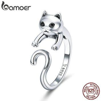 BAMOER Genuine 925 Sterling Silver Long Tail Naughty Cat Finger Rings for Women Adjustable Size Sterling Silver Jewelry SCR409