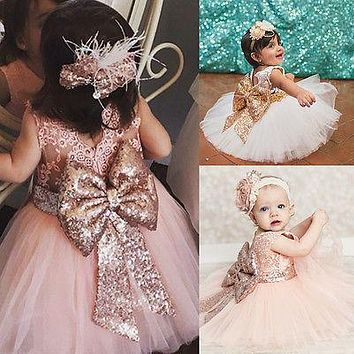 Charming Kids Baby Girl Party Dress Lace Flower Huge Sequins Bowknot Dress Sundress