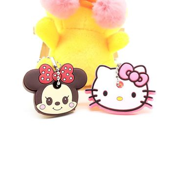 2 PCS A Lot Cartoon Anime Cute Key Cover Mickey Stitch Keychain Silicone Hello Kitty Super Hero Porte Clef Cap Minne Key Protect
