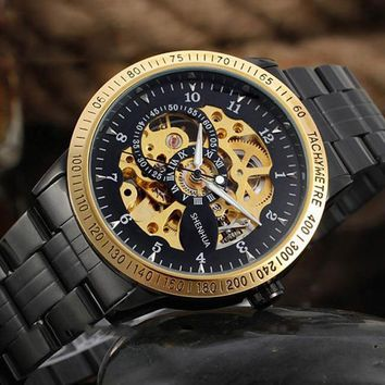 Vintage Black Gold Men's Skeleton WristWatch Stainless steel Antique Steampunk Casual Automatic Skeleton Mechanical Watches Male