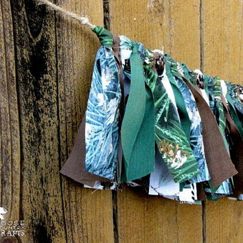 Rustic Cabin Christmas rag garland, sparkly, glittery,pine trees,pinecones,  mantle decoration, winter photo prop, swag, green brown, cozy