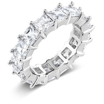Rhodium Plated Brass Eternity Wedding Band Ring With White Princess Cut CZ