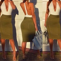 Women Halter V neck Backless Bodycon Midi Dress Vintage Pencil Dress