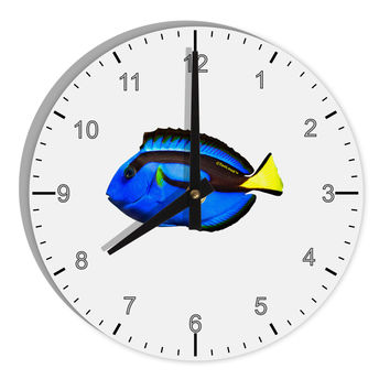"Blue Tang Fish 8"" Round Wall Clock with Numbers"