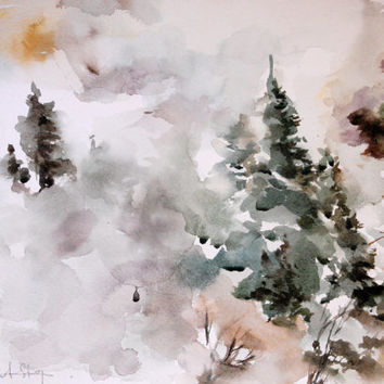 Original Watercolor Paintng, Landscape Painting, Abstract, Modern Art, Nature, Winter Landscape, Misty