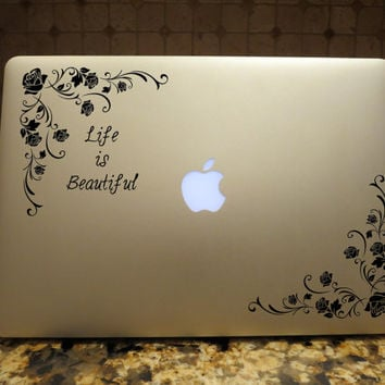 Life is Beautiful Floral Decal Custom Vinyl Computer Laptop Car auto vehicle window decal custom sticker Decal