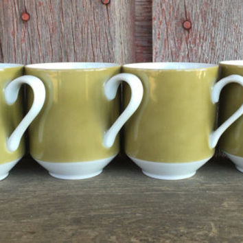 Set of 4 retro Mikasa Eclipse Tawny Green china flat cups, 1970s china, vintage Japan china cups, olive green and white replacement mugs