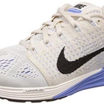 Nike Women's Lunarglide 7 Sail Black/Chalk Blue/Pr Pltnm Running Shoe 7 Women US