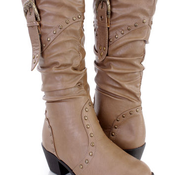 Khaki Studded Slouchy Cowboy Boots Faux Leather