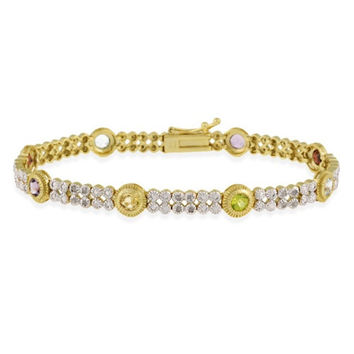 18K Gold over Sterling Silver 2.3ct Multi Gemstone & Diamond Accent Two Tone Bracelet
