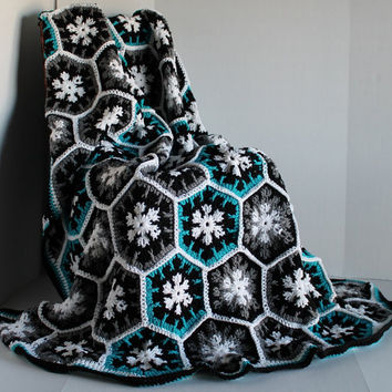 Afghan- Handmade Hexagon Crochet Blanket - Full Size - Teal, Grey,and Black
