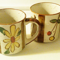 Japanese Floral Ceramic Coffee Cups, Hand Painted Japanese Coffee Mugs, Yellow and Red Daisy, Brown painted rim, Vintage Japanese Coffee Mug