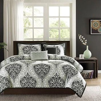 King Size 5 Piece Damask White Black Comforter Set