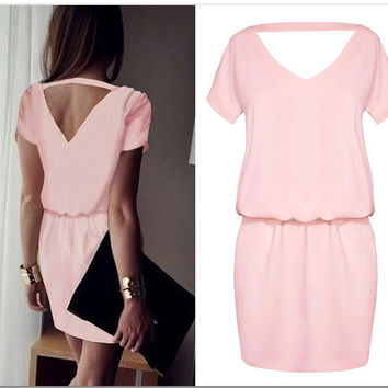 Pink Cutout Back Short Sleeve Casual Dress