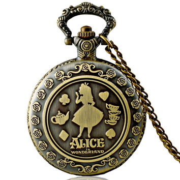 Vintage Bronze Hollow Alice In Wonderland Pocket Watch Quartz Necklace Chain Pendant Christmas Gift For Kids