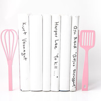 Bookends Spatula and whisk these bookends will hold your favorite cookbooks Pink